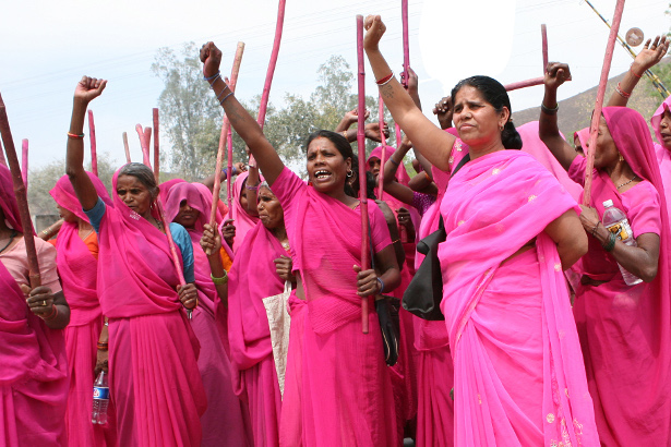 They are fighting for the rights of  females domestically abused, raped and murdered by males in India