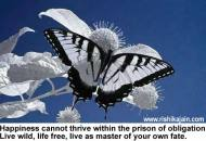 Happiness cannot thrive within the prison of obligation. Live wild, life free, live as master of your own fate.