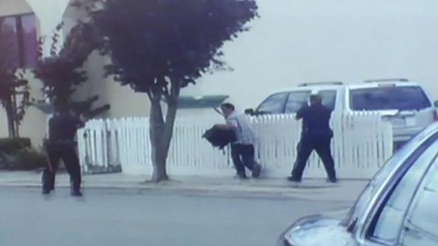 Looks like he is  cornered...The officers did not have to kill this man