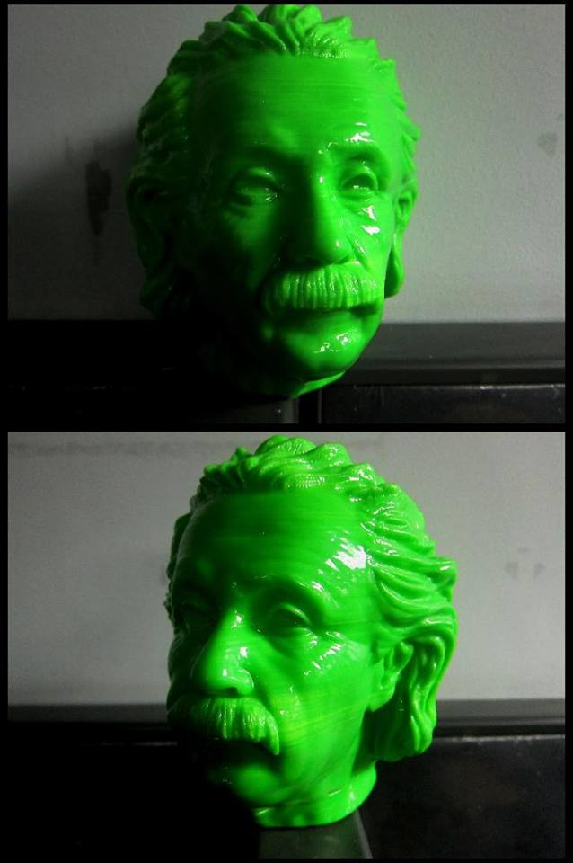 3D print of Albert Eintein using: 3D printed head using ABS filament created in FDM printer.