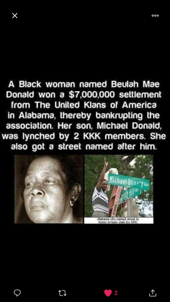 Beulah Mae Donald, who won a $7 million judgment against the Ku Klux Klan for the death of her son in a beating