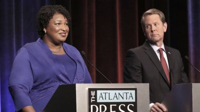 Georgia gubernatorial candidates Democrat Stacey Abrams and Republican Brian Kemp during a debate last month. John Bazemore/Getty Images
